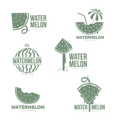 graphic silhouette watermelon logo templates vector image vector image