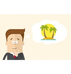 Happy businessman or manager imagines vacation on vector image vector image