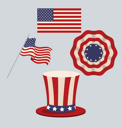 hat flag united states patrotism stamp vector image vector image