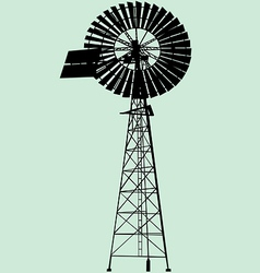 windpump silhouette vector image