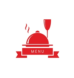 wine glass with dish restaurant menu vector image