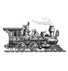 Retro steam locomotive train vintage sketch vector