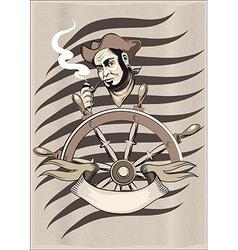 smoking seaman behind a wheel vector image vector image