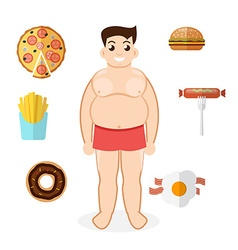 Unhealthy lifestyle fat man obesity vector image vector image