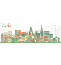 abstract kochi skyline with color buildings vector image