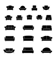 Armchair chairs sofa and couch icons set vector image vector image