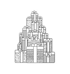 hand-drawn gift boxes vector image vector image