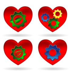 heart gear green leaf vector image vector image
