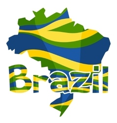 Stylized map of Brazil with abstract color stripes vector image
