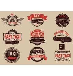 Taxi service labels and emblems template Taxi vector image