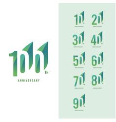 100 th anniversary set logo template design vector