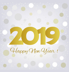 2019 golden happy new year greeting card vector image