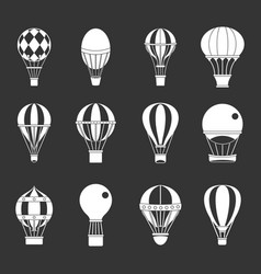 Air ballon icon set grey vector