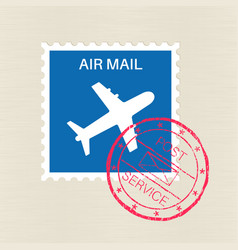 Air mail blue stamp with plane symbol and red vector