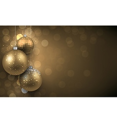 Background with golden christmas balls vector image