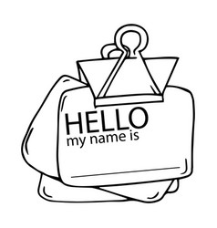 Badge with words hello hand drawn a badge vector