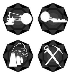 Badges coal industry 1 vector image