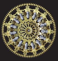 baroque floral round mandala pattern greek circle vector image