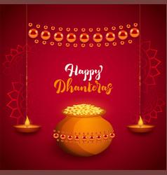 Beautiful happy dhanteras festival card with diya vector