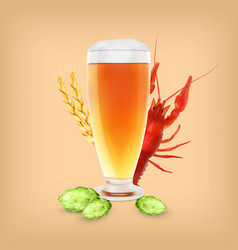 Beer glass with hop plant and wheat vector