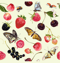 Berry butterfly seamless pattern vector