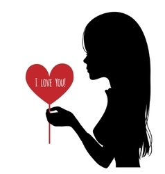 Black silhouette of woman with heart in hand vector image
