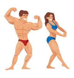 bodybuilders characters muscular bearded man vector image