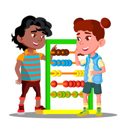 boy teaches to count on accounts little girl vector image