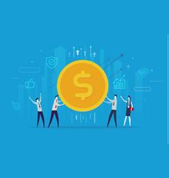 Businessmen team hold a huge dollar coin vector