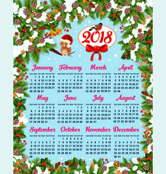 Calendar template with christmas wreath frame vector