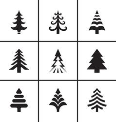 Christmas fir tree icons set vector image