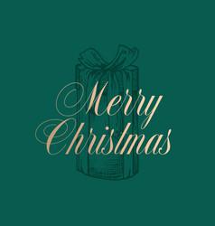 christmas present box abstract retro label vector image