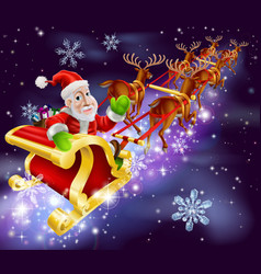 Christmas santa claus flying sleigh with gifts vector