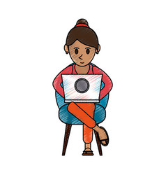 Color pencil cartoon woman sitting in chair with vector