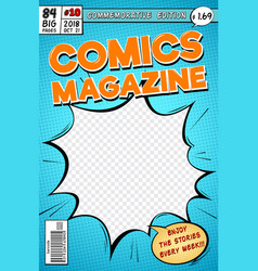 Comic book cover retro cartoon comics magazine vector