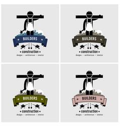 construction worker logo design artwork vector image