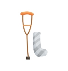 Crutch and plaster bandage icon cartoon style vector image