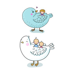 Cute cartoon birds and kids children s fairy vector