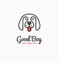 Cute happy dog face logo vector