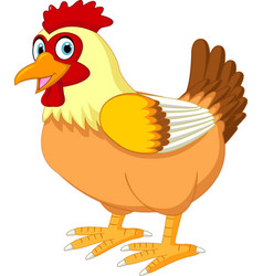 cute hen cartoon posing vector image