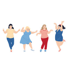 dancing plus size happy women vector image