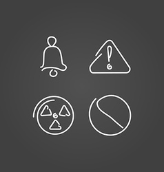 Danger and alarm set icons draw effect vector image