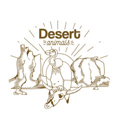 desert animals hand drawing cartoon vector image