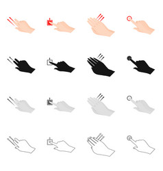 Design of touchscreen and hand icon set of vector