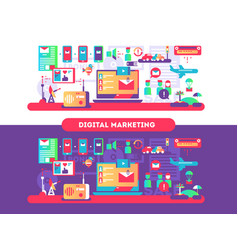 Digital marketing design flat vector