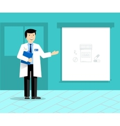 Doctor with banner or projection screen giving vector image