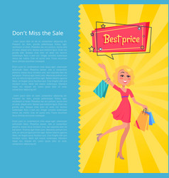 Don t miss the sale best prices poster with woman vector