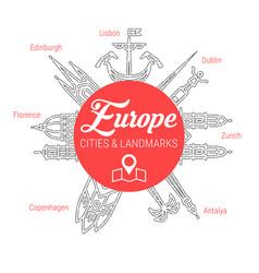 Famous european landmarks line icon set vector