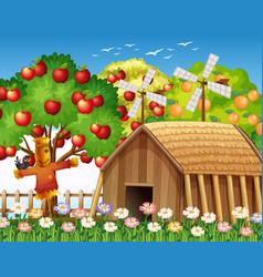 farm scene with farmhouse and big apple tree vector image