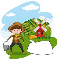 Farmer working in farmland vector